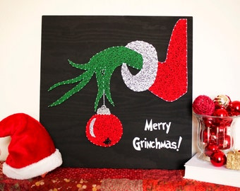 Merry Grinchmas - The Grinch Who Stole Christmas - string art - the grinch - grinch - grinch decorations - whoville - christmas decorations