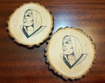 Cam Newton Natural Wood Slice Coaster Set of 2