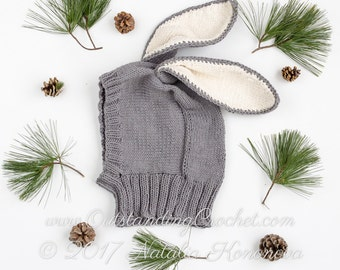 Bunny Knitting Hat Pattern - Baby Balaclava Pattern - Coverall Hat with Neck Warmer Bunny Ears - Baby - Kids - Adult Sizes - PDF