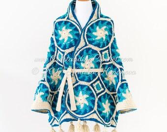 Crochet Sweater Pattern - Cardigan Coat Poncho Cape with Belt Pattern - Medium - Large - Plus Sizes - Avalanche - PDF