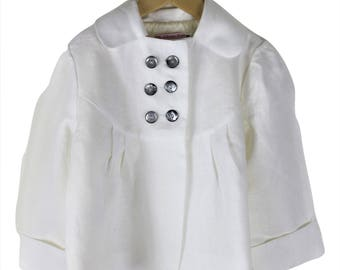 Girls Pure white linen jacket