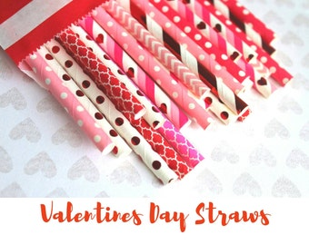 SALE!! 25 Paper Straws. Red Foil Hearts. Valentines Day. Pastel Hearts. Conversational Hearts. Paper Straws