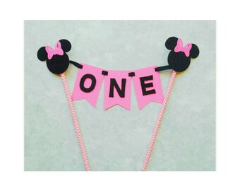 Minnie Mouse Cake Topper. Cake Bunting. Minnie Mouse First Birthday. Minnie Mouse Party Decorations. All colors available!!!!!