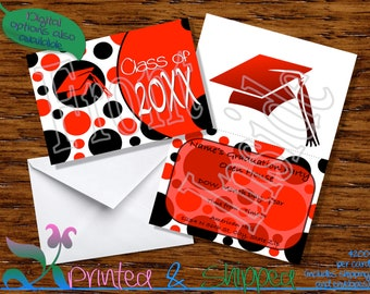 Polka Dot Graduation Invitation - pick your colors; Folded Card; Postcard; PDF; E-Card