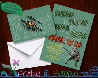 Dinosaur Eye Invitation; Folded Card; Postcard; PDF; E-Card