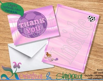 Soccer Pink & Purple Ball Thank You; Folded Card; Postcard; PDF; E-Card