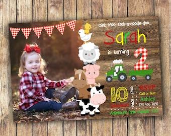 Digital Farm Birthday Invitation for a Boy or Girl, Barnyard Invitation with Wood/Chalkboard, Farm Animal Invite, Photo Printable Invitation