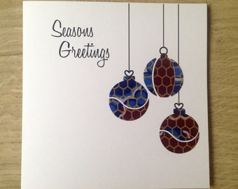 "Christmas Card/baubles2/African Wax Print Cards/Ethnic card (6"" square)"