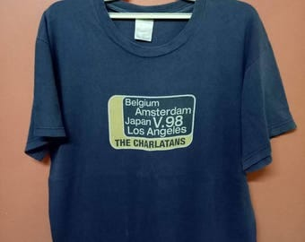 VINTAGE 90's THE CHARLATANS promo tour concert usa belgium japan indie rock britpop rare 90s T shirt