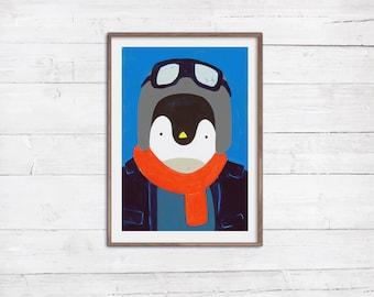 Herr Pinguin A4 Illustration Poster Print Tierportrait Illustration Malerei Acryl bunte Wanddeko Kinder Baby