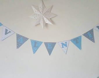 "Garland ""Baptism"" + name cotton coating-assorted - color 210 gr paper flags stars"