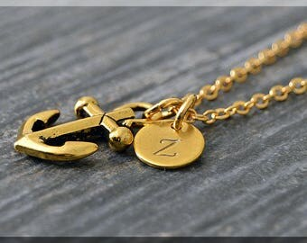 Gold Anchor Charm Necklace, Initial Charm Necklace, Personalized, Anchor Pendant, Nautical Jewelry, Monogram Sailor Necklace
