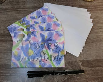 Set of 5 watercolor thanks yous