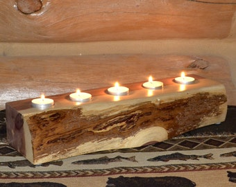 Rustic Natural Edge Red Cedar Tealight Candle