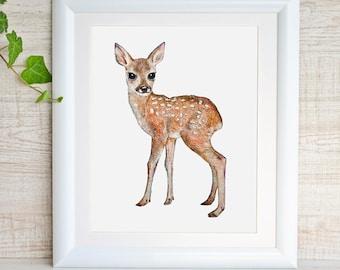 Fawn Deer Print Deer Art Fawn Watercolor Painting Baby Animal Print Woodland Nursery Decor Forest Woodland Animal Print Baby Deer Baby Girl