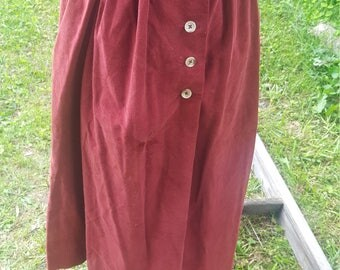 Vintage High Waist Maroon Corduroy Flare Midi Skirt W/ Pockets