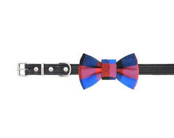 """Blue & red dog bow tie - 30% of sales donated to dog shelters """"dog bow tie"""" symbol for animal support"""