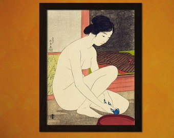 FINE ART REPRODUCTION Japanese Art Print Woman At Her Bath 1915 H.Goyo Ukiyo-e Fine Art Print Retro     Design