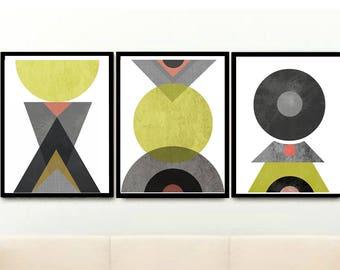 Mid Century Modern, Abstract Art, Geometric Prints, Set of 3 Prints, Triptych,  Scandinavian Art, Giclee prints,  Wall Decor, Wall Art