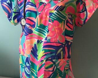 Scrub Top/ poplin Lilly Pulitzer fabric / nurse/ made to order