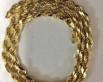 """Sterling silver gold plated Rope Chain mens chain necklace, 28"""", 10mm"""