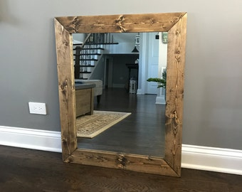 Framed Bathroom Mirrors Rustic reclamed wood frame mirror rustic wood mirror bathroom