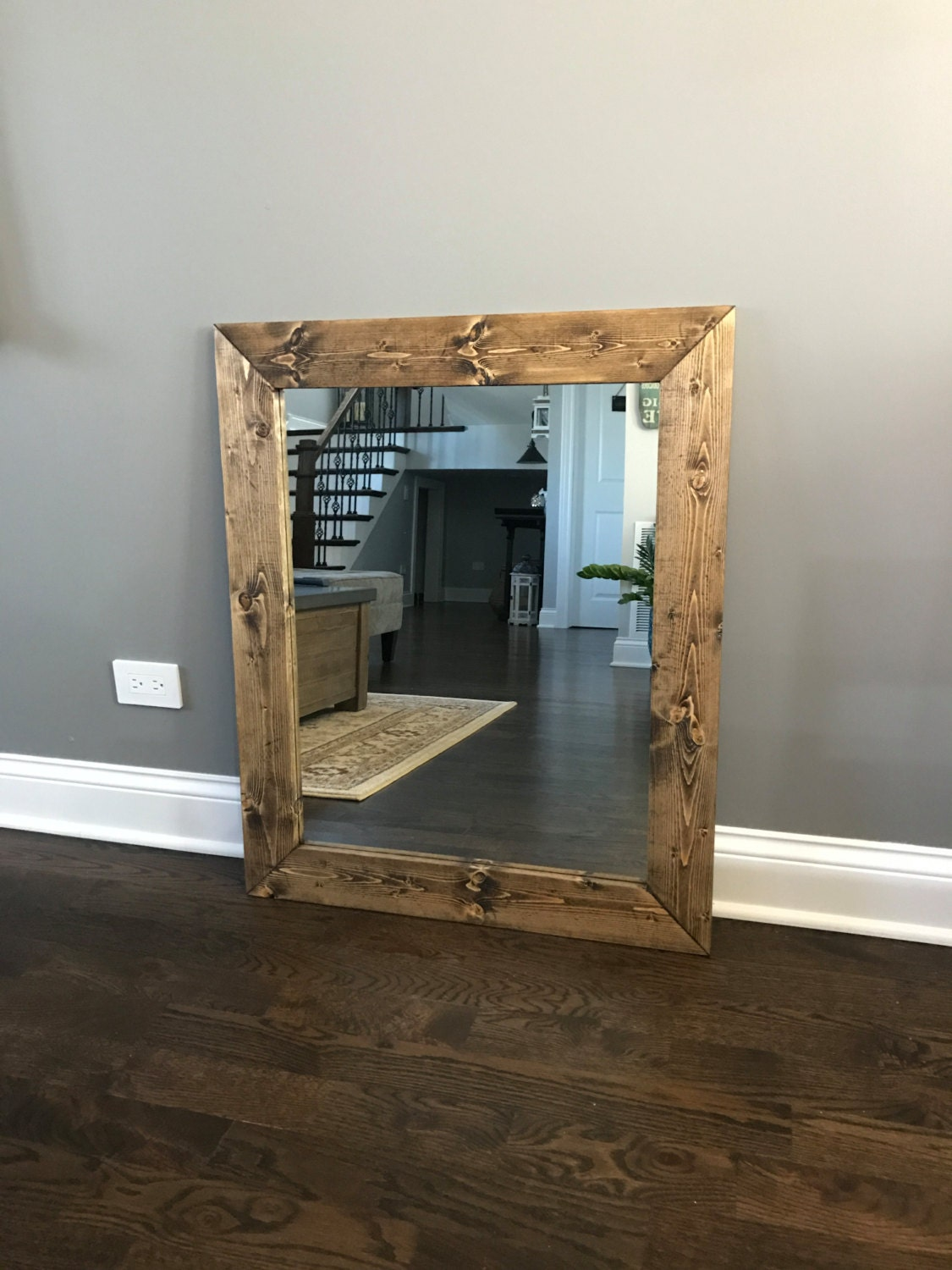 mirror wood frame mirror rustic wood mirror bathroom mirror wall mirror vanity mirror small mirror large mirror