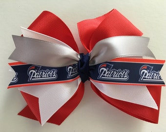 New England Patriots Hair Bow Patriots Hair Bow Patriots Bow Red White Blue Gray Patriots Bow Super Bowl Hair Bow All Sizes