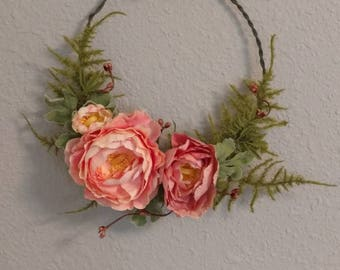 Floral wreath, floral wall hanging with pink peach Peonies *reduced price*