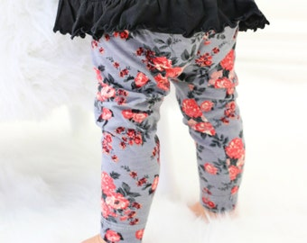 20% OFF SALE - Celeste Floral Baby Girl Leggings | Dark Floral, Coral, Pink, Gray, Sweet, Headband Baby Girl Pants