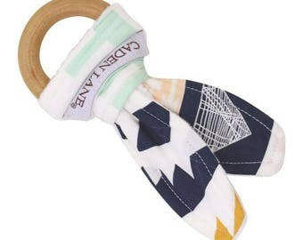 Aztec Mint and Gold Baby Wooden Teething Ring   Navy, Gold, Mint, Aztec, Tribal, Nautral Baby Teether, Baby Teething Toy