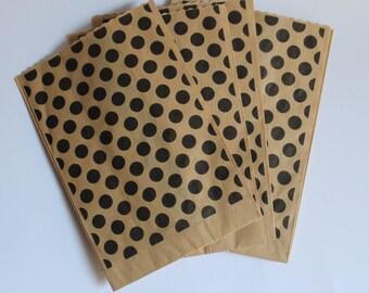 "Kraft paper bag Black polka dots patterned/kraft paper Bags black polka dots/food packaging/packaging bags ""confettata""."
