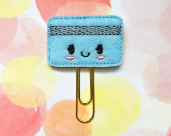 Planner Clip, Blue Credit Card, Shopping Addict, Planner Accessory, Gold Paperclip