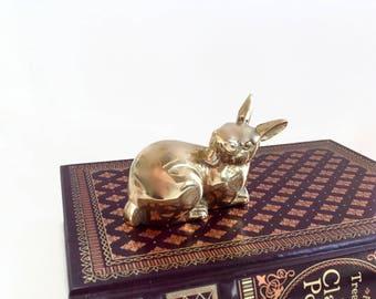 Vintage Mid Century Modern Brass Rabbit - Baby Room Decor - Brass Paperweight - Brass Bunny Figurine