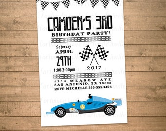 race car birthday invitation boys any age, racing blue sports car, white background, checkered flags, printed or printable invites