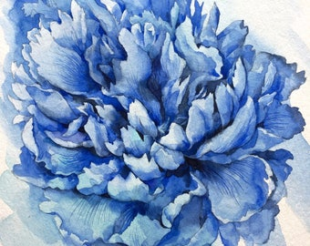 Peony ORIGINAL watercolor painting,flower still life, art, gift, home decor