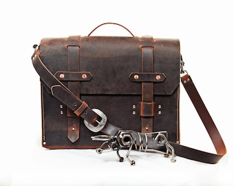 Leather satchel, laptop bag, ipad bag, buffalo leather, Handmade in the USA