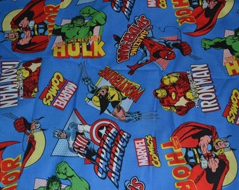"One piece  8"" X 42"" MARVEL COMICS CHARACTER Spider man Hulk (Ironman ) Fabric  Blue marvel 2"