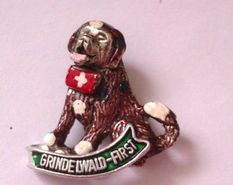 silver coloured enamelled dog brooch