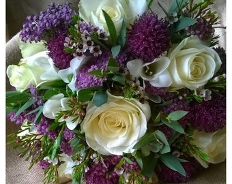 White and Purple Country Bridal Bouquet