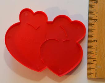 "WILTON 4-HEART Valentine's Day Cookie Cutter | 1990 3 1/8"" x 4"" Red"