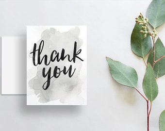 watercolor splash thank you cards // folded thank you notes // silver grey gray watercolor // brush lettering // PRINTED cards // custom