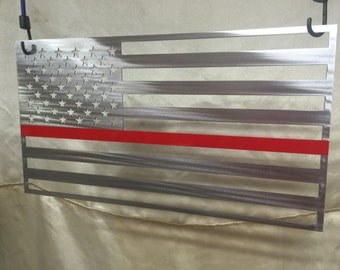 Metal American Flag Thin Red Line