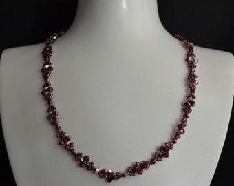 Swarovski crystal necklace fuchsia electra