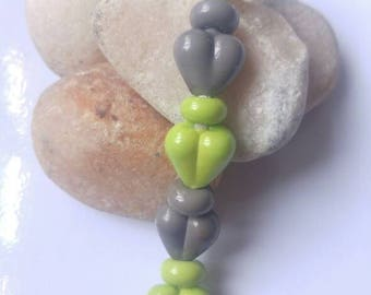 Tiny Hearts & Spacers Glass Lampwork Bead Set Lime and Grey SRA