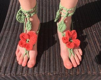 Flower barefoot sandal, barefoot sandal, hibiscus sandal, baby barefoot sandal