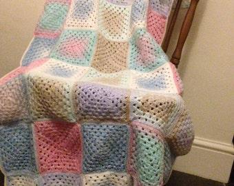 Multi colour crochet baby carrier pram blanket