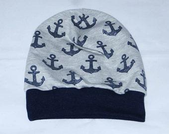 Cap KU 51-54 anchor glitter Beanie grey blue