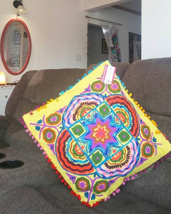 Vibrant Bohemian mandala, Yellow Pillow cover, boho cushion cover, Porch Pillow, christmas gift, Embroidery Cushion, Garden Pillow