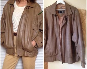 Jacket jacket in lambskin oversize beige vintage 80 s (XL-XXL-42/44)
